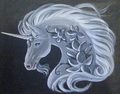Metaphysical Painting - Illuminated Unicorn by Radha Flora Cloud