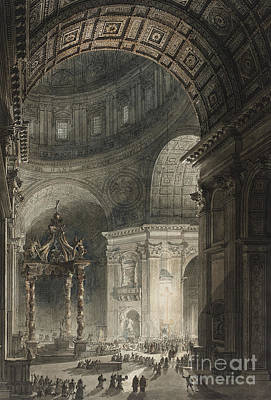 St Peters Basilica Drawing - Illumination Of The Cross In St. Peter's On Good Friday, 1787 by Giovanni Battista Piranesi