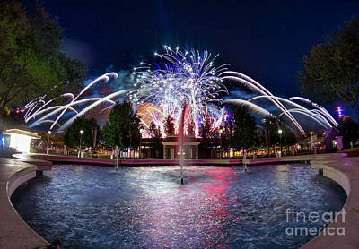 Photograph - Illuminations Over The Usa Pavilion by Luis Garcia