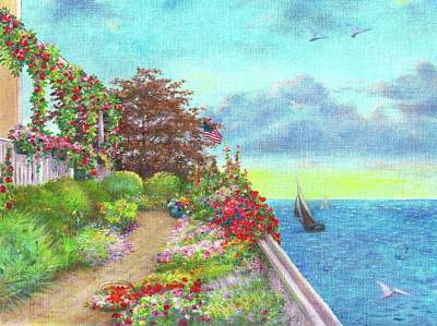 Painting - Illustrated Beach Cottage Water's Edge by Judith Cheng