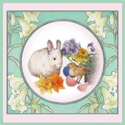 Illustrated Bunny With Easter Floral Art Print