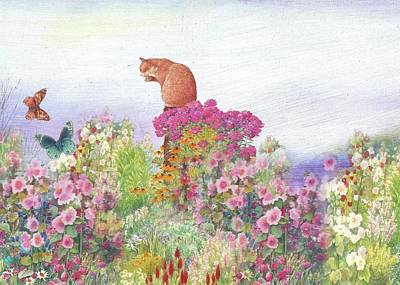 Illustrated Cat In Garden Art Print