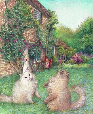 Illustrated Cats In English Cottage Garden Art Print
