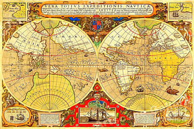Painting - Illustrated Elizabethan Nautical Map Of The Voyages Of Sir Francis Drake 1595 by Unknown