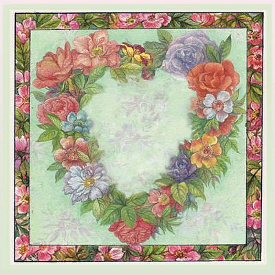 Illustrated Heart Wreath Art Print