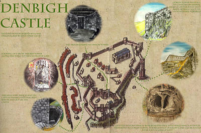 Illustrated Map Of Denbigh Castle 1611 Ad Art Print by Martin Williams