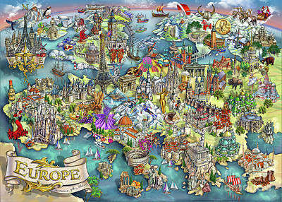 Illustrated Map Of Europe Art Print by Maria Rabinky