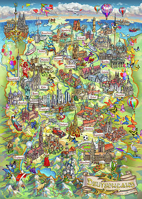 Berlin Germany Painting - Illustrated Map Of Germany by Maria Rabinky