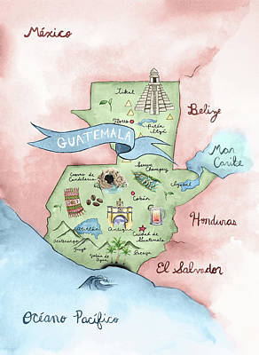 Central America Mixed Media - Illustrated Map Of Guatemala by Aurelia Paquette