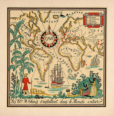 Royalty-Free and Rights-Managed Images - Illustrated Map of the World, 1768 - Pictorial Map - Historic Map - Old Atlas by Studio Grafiikka