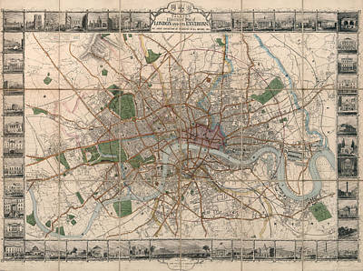 Royalty-Free and Rights-Managed Images - Illustrated Plan of London and its Environs - Map of London - Historic Map - Antique Map of London by Studio Grafiikka