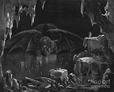 Gustave Wall Art - Drawing - Illustration From The Divine Comedy by Gustave Dore