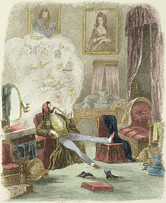 Reverie Drawing - Illustration From Visitation Of A London Exquisite To His Maiden Aunts In The Country by Theo