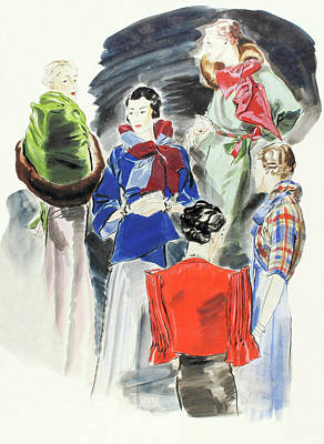 Scarf Digital Art - Illustration Of A Group Of Models by Rene Bouet-Willaumez
