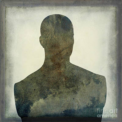 Illustration Of A Human Bust. Silhouette Art Print by Bernard Jaubert