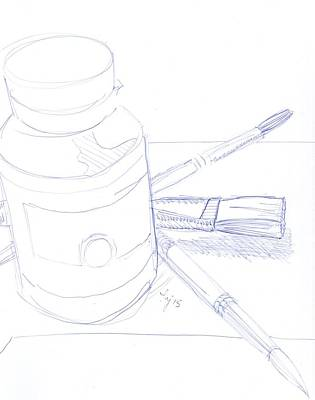 Drawing - Illustration Of A Paint Pot And Some Artist Brushes - Equipment Check by Mike Jory