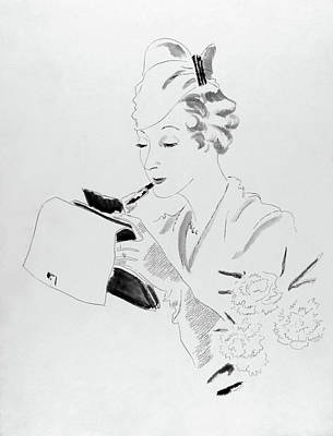 John Digital Art - Illustration Of A Woman Applying Lipstick by Jean Pages