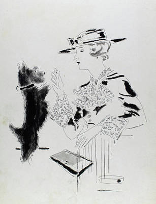Illustration Of A Woman Feeding A Dog Art Print by Jean Pages