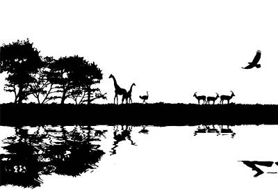 Ostrich Photograph - Illustration Of African Safari Concept Silhouette Image by Matthew Gibson