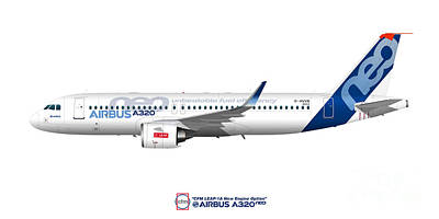Civil Aviation Digital Art - Illustration Of Airbus A320 Neo D-avvb by Steve H Clark Photography