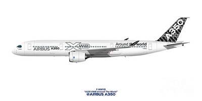 Civil Aviation Digital Art - Illustration Of Airbus A350 F-wwyb by Steve H Clark Photography