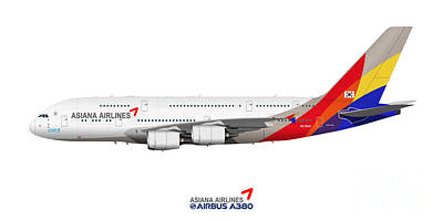 Civil Aviation Digital Art - Illustration Of Asiana Airlines Airbus A380 by Steve H Clark Photography