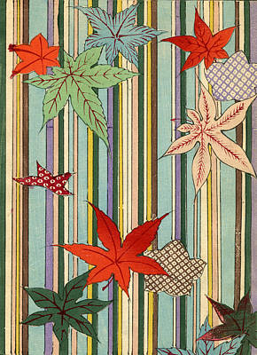 Stripe Drawing - Illustration Of Autumn Leaves On A Striped Background by Unknown