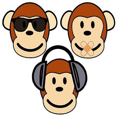 Digital Art - Illustration Of Cartoon Three Monkeys See Hear Speak No Evil by Tracey Harrington-Simpson
