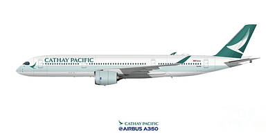 Civil Aviation Digital Art - Illustration Of Cathay Pacific Airbus A350  by Steve H Clark Photography