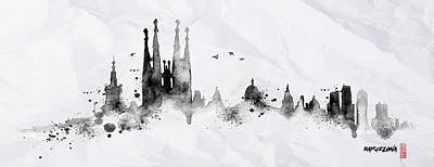 Illustration Of City Skyline -barcelona In Chinese Ink Original