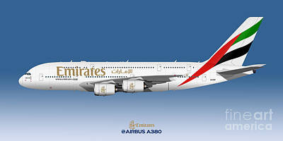 Civil Aviation Digital Art - Illustration Of Emirates Airbus A380 - Blue Version by Steve H Clark Photography