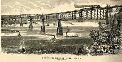 Poughkeepsie Painting - Illustration Of Hudson River Bridge At Poughkeepsie New York by Celestial Images