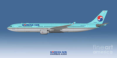 Civil Aviation Digital Art - Illustration Of Korean Air Airbus A330-300 - Blue Version by Steve H Clark Photography