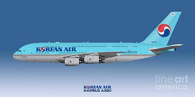 Civil Aviation Digital Art - Illustration Of Korean Air Airbus A380 - Blue Version by Steve H Clark Photography