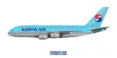 Civil Aviation Digital Art - Illustration Of Korean Air Airbus A380 by Steve H Clark Photography