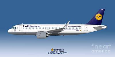 Civil Aviation Digital Art - Illustration Of Lufthansa Airbus A320 Neo - Blue Version by Steve H Clark Photography
