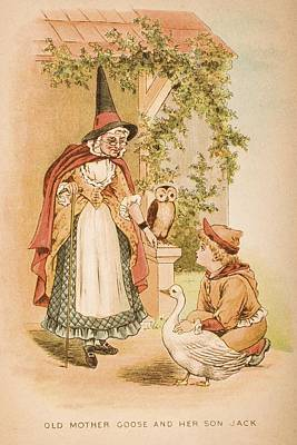 Mother Goose Drawing - Illustration Of Old Mother Goose And by Vintage Design Pics
