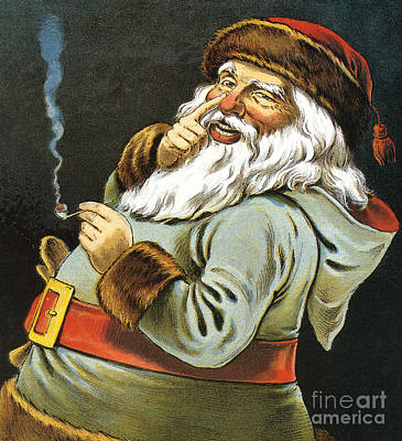 Illustration Of Santa Claus Smoking A Pipe Art Print by American School
