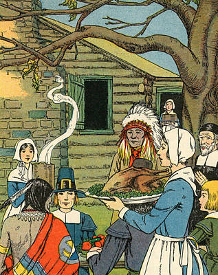 Painting - Illustration Of The First Thanksgiving by American School