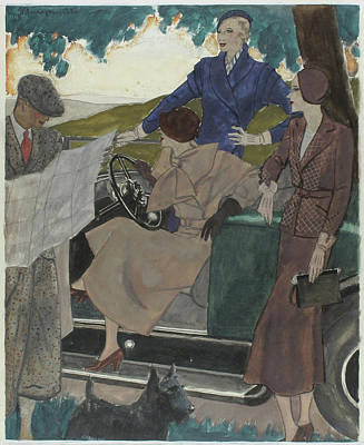 Rural Scenes Digital Art - Illustration Of Three Women Leaving A Parked Car by Pierre Mourgue
