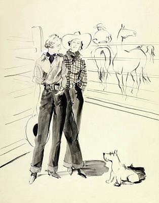 Illustration Of Women At A Ranch Art Print