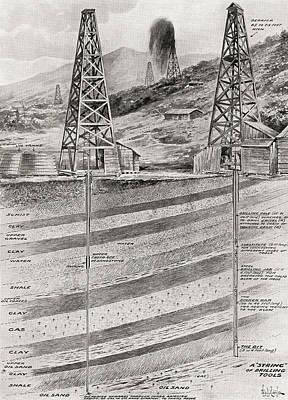 Oil Drawing - Illustration Showing Oil Derricks by Vintage Design Pics