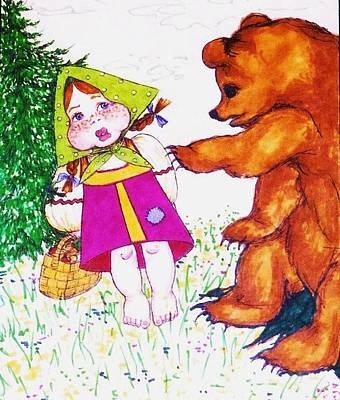 Greeting Card - Illustration To Russian Fairytale Masha And Bear by Rae Chichilnitsky