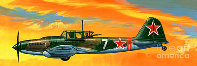 Ilyushin II 2m3 Russian Ground Attack Aircraft Art Print by Wilf Hardy