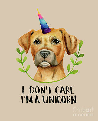 Painting - I'm A Unicorn - Pit Bull Dog Illustration by NamiBear