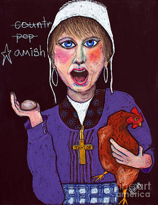 Chicken Portrait Wall Art - Painting - I'm Amish by David Hinds