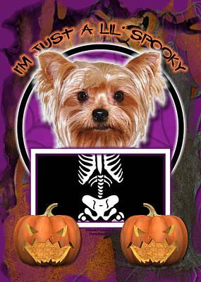 Terrier Digital Art - I'm Just A Lil' Spooky Yorkie by Renae Laughner