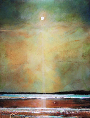 Moody Beach Painting - I'm Never Alone by Toni Grote
