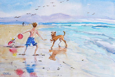 Dog Play Sea Painting - Beach Fun by Charme Southey
