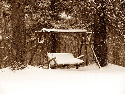 Swing With Snow Print by John Myers
